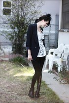 black veiled vintage hat - navy Forever 21 blazer - black sequined Forever 21 ti
