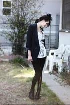 black veiled vintage hat - navy Forever 21 blazer - black sequined Forever 21 ti