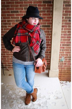 plaid Target scarf - navy Forever 21 hat - Target jacket - crossbody Fossil bag