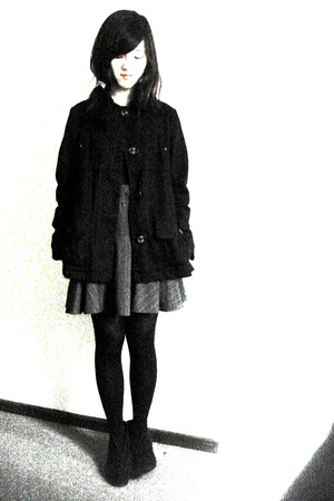 MNG coat - MNG top - thrifted in thailand skirt - Vogue tights - Topshop shoes