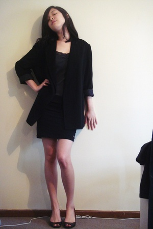 thrifted blazer - thrifted top - thrifted skirt - tony bianco shoes