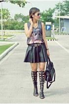 black leather f21 shirt - Ray Ban sunglasses - black Chanel belt