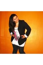 gray H&M leggings - black vintage jacket - white Primark t-shirt