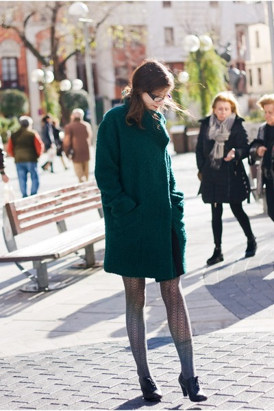 black Clarks shoes - dark green Esprit coat - silver Calzedonia tights