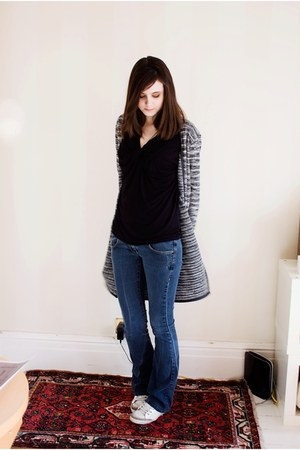 navy asos jeans - dark gray Fransa cardigan - black Byoung top