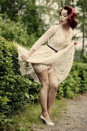 mock suspender stockings - vintage lace dress