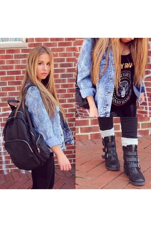 black Aldo boots - sky blue denim Forever 21 jacket - black BCBG leggings