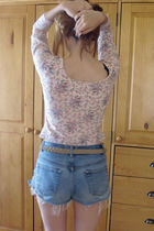 pink Kenzo shirt - vintage shorts - Zara belt