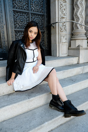 leather Dr Martens boots - white SANDRO dress - leather Zara jacket