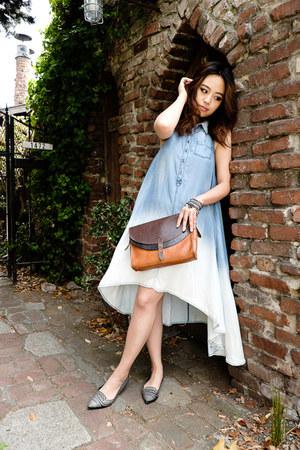 chic Anthropologie dress - leather madewell bag - elegant Nordstrom flats