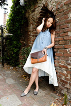 chic Anthropologie dress - leather madewell bag - elegant Nordstrom flats