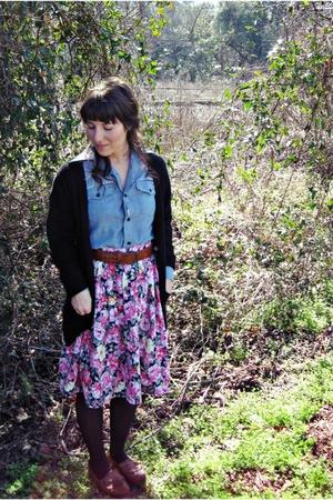 black Gap cardigan - blue Levis blouse - pink thrifted skirt - brown eastland sh