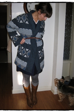 thrifted cardigan - thrifted dress - vintage ebay boots -  leggings - thrifted b