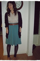 white thrifted blouse - blue thrifted skirt - brown Gap cardigan - brown thrifte