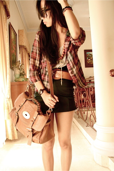 red checked blazer - black mini skirt skirt - beige Zara t-shirt
