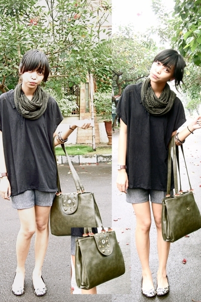 green Forever21 scarf - brown red herring shoes - black bloop shirt