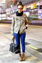 black and studs Zara bag - camo print Bershka jacket