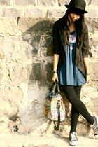 blue Zara t-shirt - black Converse shoes - black Cherokee hat