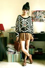 Leather-zara-boots-tribal-sheinside-sweater-satchel-h-m-bag