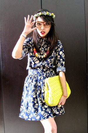 lime colour Miu Miu bag - skull print La delle clothing shirt