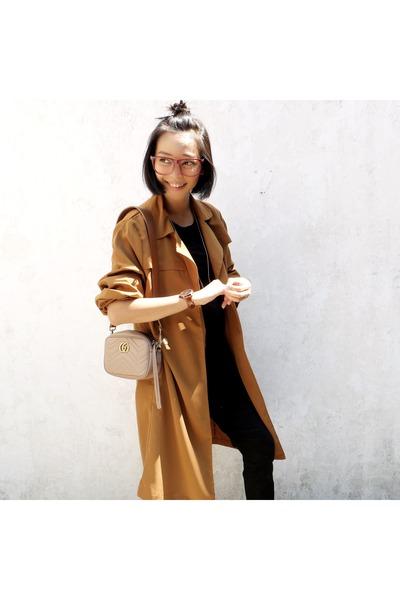 camel ats the label coat - nude Gucci bag - brick This is April sandals