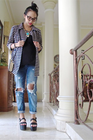 striped La Delle Cloth coat - boyfriend jeans blackfive jeans