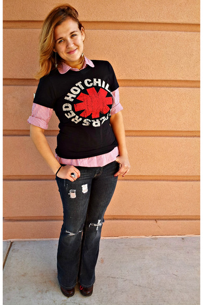 vintage band t-shirt - chunky laced Charlotte Russe boots