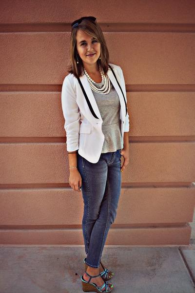 heather gray peplum Charlotte Russe top - blue skinny jeans OP jeans