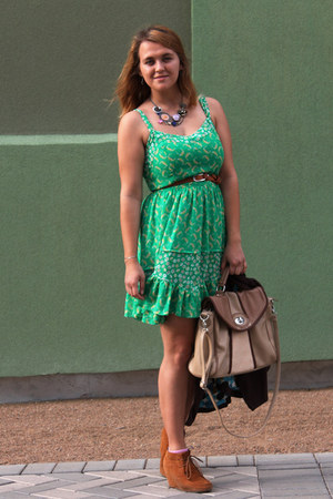 green flowy printed LC by Lauren Conrad dress - bronze laces Dolce Vita wedges