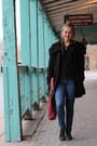 Black-trench-forever-21-coat-navy-skinny-forever-21-jeans