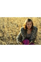 leopard print rue21 coat - hot pink Minicci tights - feathers rue21 earrings