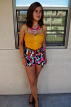 Wet Seal shorts - bustier bright Charlotte Russe top - Icing by Claires necklace