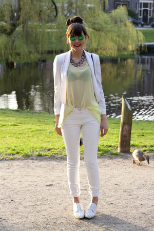 Topshop necklace - maison martin margiela X H&amp;M jeans - Mango blazer