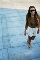 bronze Bershka sweater - cream DIY shorts - black Ray Ban sunglasses