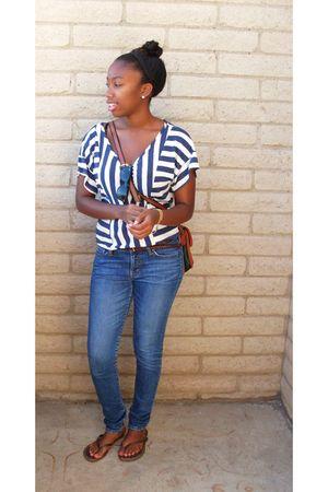 blue shirt - blue jeans