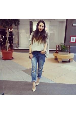 eggshell random shoes - sky blue random jeans - camel random blouse