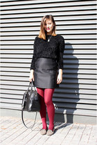 black H&M sweater - ruby red Pimkie tights - black Bimba & Lola bag