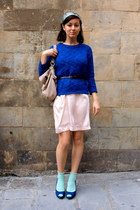 light pink H&M dress - blue Zara sweater - neutral Zara bag - light blue H&M soc