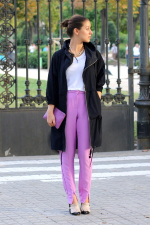 amethyst H&M Trend pants - navy Marni x H&M coat - amethyst Bimba & Lola purse