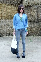 heather gray Mango jeans - light blue Hugo Boss shirt - ivory H&M bag - black Za