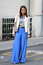 charcoal gray flower H&M Trend top - cream Massimo Dutti jacket - tan Zara bag