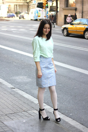 black Zara heels - sky blue brocate H&M skirt - lime green H&M top
