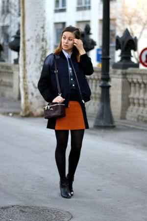 burnt orange Zara skirt - black Zara boots - navy H&M jacket