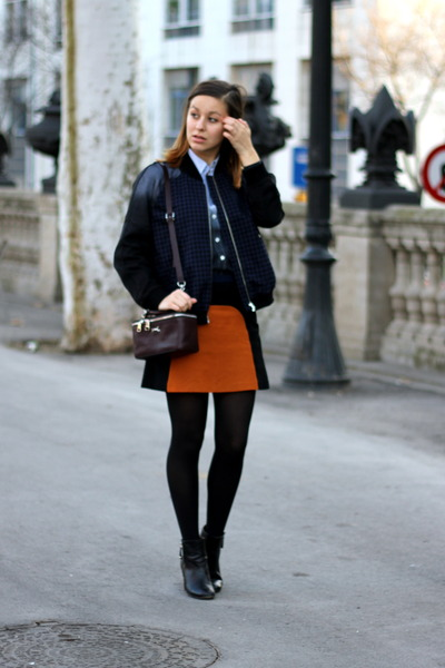 burnt orange Zara skirt - black Zara boots - navy H&M jacket