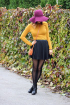 H&M hat - Zara boots - random tights - asos bag - pleated H&M skirt - H&M top