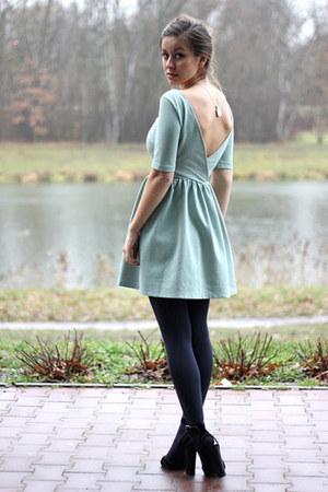 light blue Zara dress - black Zara heels