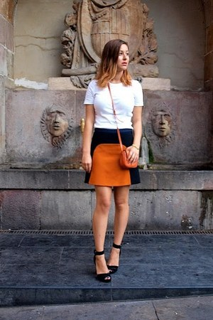 orange bi-color Zara skirt - orange leather asos bag - black Zara heels