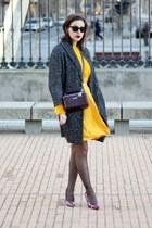 gold H&M sweater - dark gray H&M coat - crimson Bimba & Lola bag