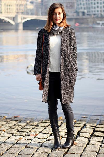 black Zara boots - dark gray H&M coat - ivory Zara sweater