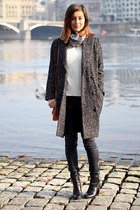 black Zara boots - dark gray H&M coat - ivory Zara sweater